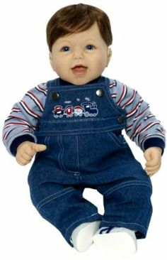 Middleton Doll Graham by Middleton Doll. $65.99. Light skin, brown hair and blue eyes. 1/4 length hands and feet with soft stuffed body. Recommended for 4+ years. From the Manufacturer                Graham is always laughing. Dressed in denim overalls embroidered with a choo-choo-train, matched with a striped knit long sleeve shirt, and white shoes.                                    Product Description                Graham is always laughing! Dressed in deni...