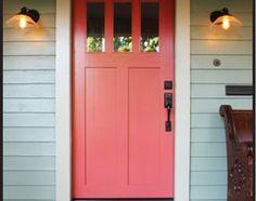 58 Best Ideas For Rustic Front Door Colors Benjamin Moore Coral Front Doors, Coral Door, Painted Front Doors, Front Door Colors, House Paint Exterior, Exterior Paint Colors, Paint Colours, Casas Trailer, Front Door Hardware