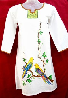 Design your dreams. Fabric Paint Shirt, Paint Shirts, Fabric Art, Fabric Painting On Clothes, Saree Painting, Dress Painting, T Shirt Painting, Hand Painted Sarees, Hand Painted Fabric