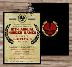 HUNGER GAMES Birthday Invitation, Invite, Hunger Games Catching Fire Party, Hunger Games Invite, Hunger Games, Digital Printable: JPG Files