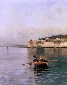 Fishermen in the Gulf of Naples, 1888 by Vincenzo Caprile (Naples, 1856 – Naples, Italian Paintings, Great Paintings, Landscape Paintings, Sea Pictures, Seascape Art, Landscape Photographers, Modern Art, Art Gallery, Boat