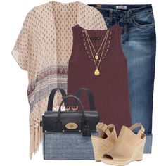 Maurices Kimono Cardigan and Steve Madden Wedge Sandals by brendariley-1 on Polyvore featuring rag & bone/JEAN, maurices, YMI, Steve Madden, Mulberry and Satya Jewelry