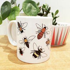 Brand new bee mug in stock! 🐝  #beemug #britishbees #illustration #etsyseller #etsysuccess #ukdesigner #bees #bumblebee #bee