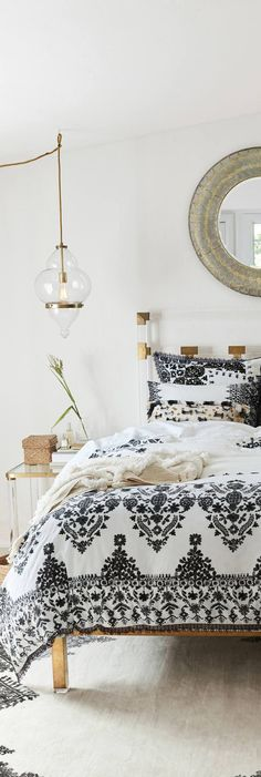 Lucite Bed and Bohemian Bedding