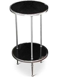 Trianon Hollywood Regency Silver Black Marble Side Table ❤ Kathy Kuo Home