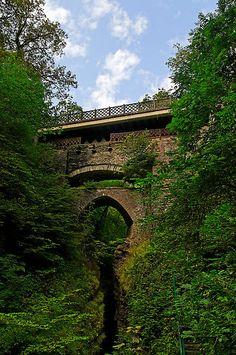 The three bridges at Devil's Bridge, Pontarfynach, WALES.   (by buttonpresser)