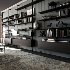 Bookshelf Design 2020 – How do you organize a bookshelf? - Home Ideas Home Library Design, Home Office Design, Home Interior Design, House Design, Shelving Design, Bookshelf Design, Design Desk, Shelving Systems, Home Decor Shelves