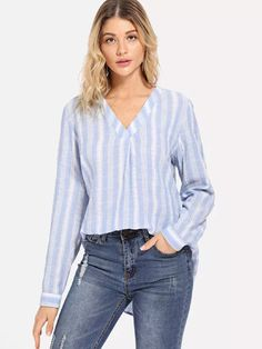 Shop Surplice V-Neck High Low Striped Top online. SheIn offers Surplice V-Neck High Low Striped Top & more to fit your fashionable needs. New Outfits, Stylish Outfits, Evening Dress Patterns, Korean Casual, Shirt Blouses, Shirts, Coat Dress, Dress Codes, Fashion News