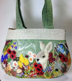 Needle Felted Purse With Bunny