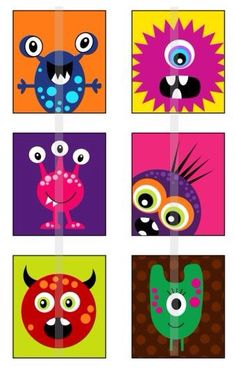 Monsters - one inch digital sheet of scrabble size x inches) images for scrabble tiles Cute Monsters, Little Monsters, Monster Art, Art For Kids, Crafts For Kids, Arts And Crafts, Ideias Diy, Art Plastique, Elementary Art
