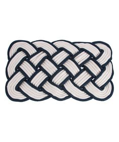 Look what I found on #zulily! White & Navy Knot Indoor/Outdoor Rug #zulilyfinds