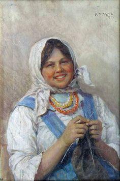 """Nastya tejiendo"" "" Nastya Knitting"" 1925 Fedor Vasilievich Sychkov (1870-1958) Pintor Ruso Soviético"