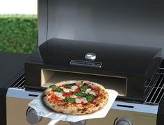 Convert your natural or propane gas grill into a gourmet pizza oven. Barbeque Pizza, Outdoor Barbeque, Barbecue, Pizza Oven Outside, Wood Pizza, Camping Grill, Bbq Accessories, Wood Fired Oven, Bbq Area
