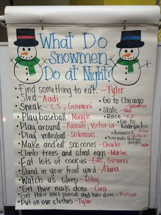 """What Do Snowmen Do At Night?"" Anchor Chart - prior to writing Kindergarten Anchor Charts, Kindergarten Writing, Kindergarten Classroom, Kindergarten Christmas, Winter Activities, Classroom Activities, Book Activities, Preschool Winter, Kindergarten Activities"