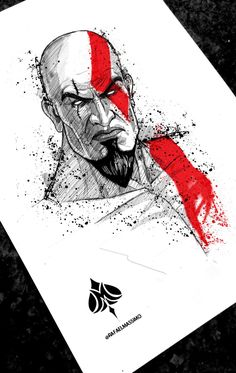 Character Drawing, Character Illustration, Illustration Art, Scary Drawings, Art Drawings Sketches, Joker Painting, Academic Drawing, Kratos God Of War, Brush Pen Art