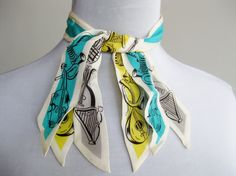 Vintage 40s Silk Novelty Musical Instruments Print Neck Tie. Via Etsy.