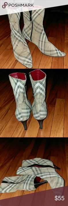 BURBERRY suede plaid zip ankle boots sz.9 1/2 BURBERRY suede leather zip ankle boots plaid with side zip closure ,2 1/2 inch heel, pointy toed boot,the inside and bottoms look good the suede on the outside is worn (especially on the pointy toe ares)size is 39 1/2 which usually is a 9 1/2 ,black,red,white and tan plaid BURBERRY signature look...Wear with crop mini flair jeans or straight leg jeans rolled up,very mod classy ?? Burberry Shoes Ankle Boots & Booties