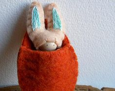 Bunny in Carrot Pouch, Waldorf Peg Doll, Easter Basket Toy, Spring Rabbit, Peach, Blue, orange, Upcycled wool felt, wood, eco toy