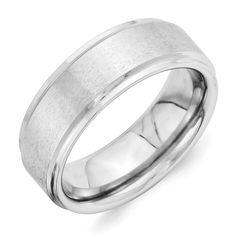Titanium Black Rubber Ridged Edge 7mm Brushed Wedding Ring Band Size 8.50 Fancy Bridal & Wedding Party Jewelry