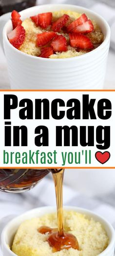 Pancake in a mug is a great breakfast for one idea! If you've never had a mug breakfast it's fun for kids on busy mornings. #mugrecipes #pancakeinamug #mugbreakfast Best Breakfast Recipes, Savory Breakfast, Breakfast Items, Breakfast Dishes, Brunch Recipes, Dessert Recipes, Mug Recipes, Quick Recipes, Quick Easy Meals