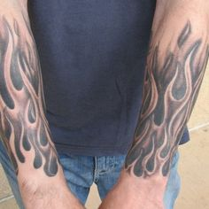 Black and grey flame half-sleeve tattoo by Steve Anderson | Yelp