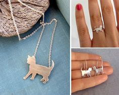 Silver & Brass Kitty Jewelry from Lunahoo