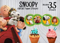 Snoopy Cupcake Toppers Birthday Party Decor by DonnaPrintART