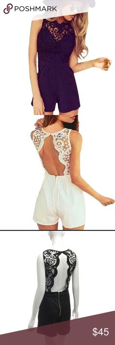 SALE TODAY ONLY🦄 Beautiful lace top romper🦄 Open back poly/ spandex lace top romper love this one Shorts