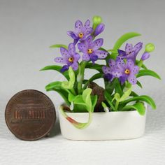 Dollhouse Miniature Vanda Orchids Clay Flower by flowerhut on Etsy, $8.99