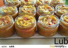 Zeleninová směs na topinky recept - TopRecepty.cz Preserves, Pickles, Hamburger, Muffin, Food And Drink, Pudding, Homemade, Snacks, Canning
