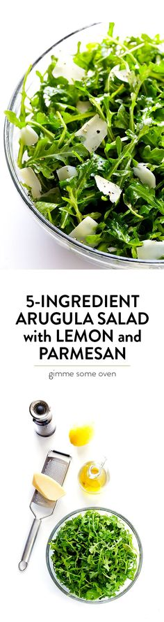 This 5-Ingredient Arugula Salad with Parmesan, Lemon and Olive Oil is super easy to make, and always tastes so fresh and delicious!   http://gimmesomeoven.com