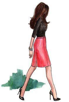black top / pink skirt / pearls / black pumps