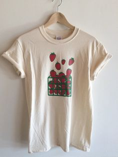 Strawberry Screen Printed T Shirt, Fruit Print
