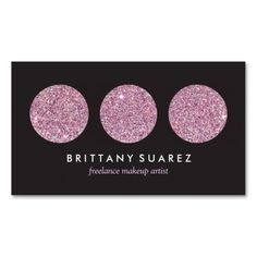 Pink Glitter Palette for Freelance Makeup Artist Double-Sided Standard Business Cards (Pack Of 100)