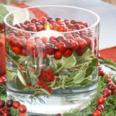 Floating candle, frash cranberries and holly