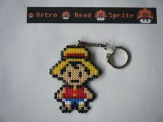Luffy keyring hama mini beads by retro-bead-sprite