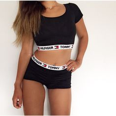 Reworked Tommy Hilfiger Two Piece Set Shorts & Crop Top One Size. ($35) ❤ liked on Polyvore featuring activewear, black and women's clothing