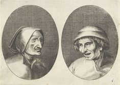 Anonymous   Keesje Licht-hart en Verblinde Swaen, Anonymous, Pieter Brueghel (I), 1612 - 1702   Prent uit een serie van 12 prenten met koppen van boeren en boerinnen.