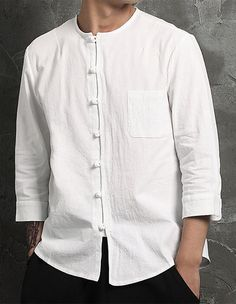 Men's Daily Simple Chinoiserie Shirt