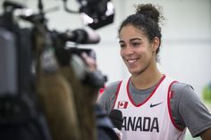 Team Canada's Kia Nurse answers media questions after the women's basketball team practice in the athlete park ahead of the Olympic games…