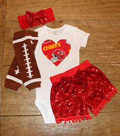 7719c19f376 Kansas City Chiefs boutique style outfit Chiefs baby shower Football  Onesie