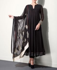 Black Anarkali Set