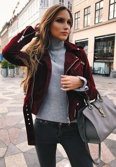 #winter #fashion //  Red Velvet Jacket // Grey Turtleneck Sweater // Grey Leather Tote // Skinny Jeans