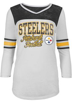 Pittsburgh Steelers Womens White Washes T-Shirt Pittsburgh Steelers  Merchandise 035029e74