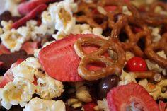 Valentine Snack Mix.... dried cranberries & strawberries, popcorn, M, Heart pretzels, popcorn, teddy grahams