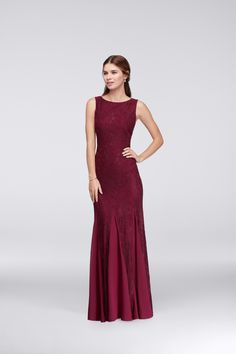 Our all time favorite hue! Have your bridesmaids wear burgundy for your wedding, the perfect deep shade of red. Shop this long, high neck bridesmaid dress by Violets and Roses at davidsbridal.com