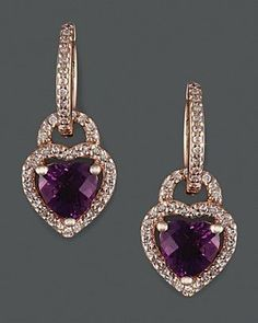 Diamond And Amethyst Earrings In 14K Rose Gold.... LetsBuyJewelry.com
