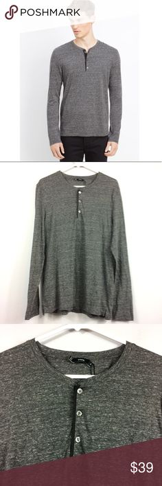 """Vince Cotton Jaspe Jersey Henley Gray Mens Medium Vince Cotton Jaspe Jersey Henley Long Sleeve Gray Mens Size Medium  Feel free to make an offer or bundle your likes and I'll send you an offer!   Check out my other items for more sizes and styles!  Measurements are laying flat Length 28"""" from shoulder to hem Underarm to underarm 19""""   Inventory #Q20 Vince Shirts Tees - Long Sleeve"""