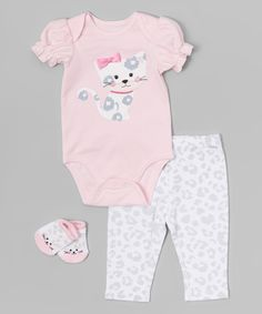 Another great find on #zulily! Pink Kitty Bodysuit Set - Infant by Vitamins Baby #zulilyfinds