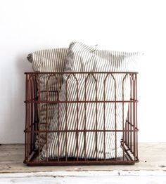 Vintage Metal Wire Crate, Square Wire Basket, Industrial Decor, Storage, Rusty
